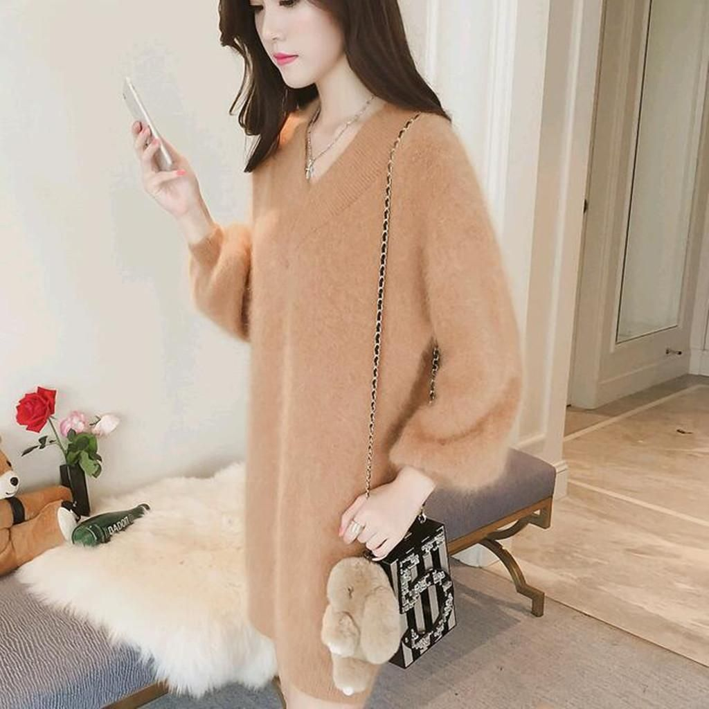 Buy Woman's wool sweaters long sleeved dress mink cashmere