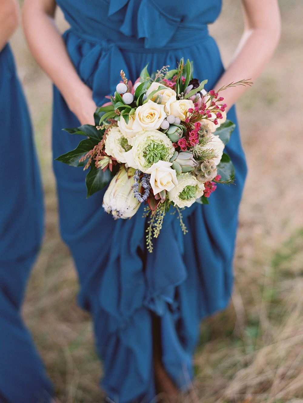 Bouquet -- love love love this color palette!! See the wedding on SMP: http://www.StyleMePretty.com/2014/02/19/classic-santa-barbara-wedding-at-apple-creek-ranch/ Photography: Lane Dittoe
