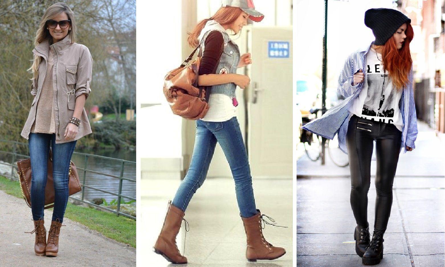 675b549e4 look com coturno e calca jeans calça de couro   Coisas para usar em ...