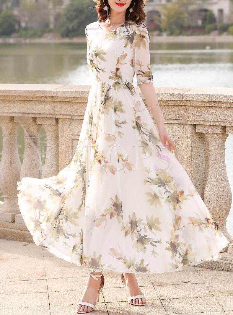 Elegant Print Big Hem Maxi Dress Womens Dresses Maxi Dress Elegant Dresses [ 1066 x 789 Pixel ]