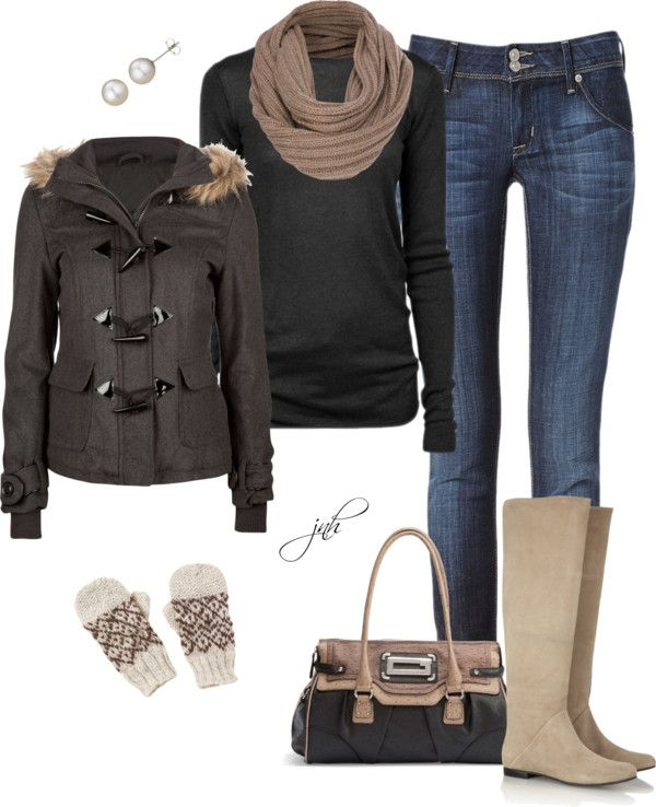 """Bundled Up in Black and Brown"" by jill-hammel on Polyvore"