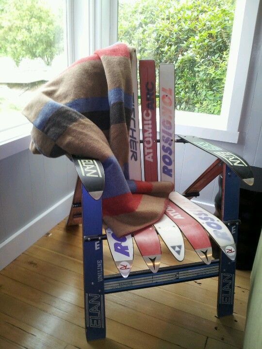 Adirondack ski chair and vintage blanket