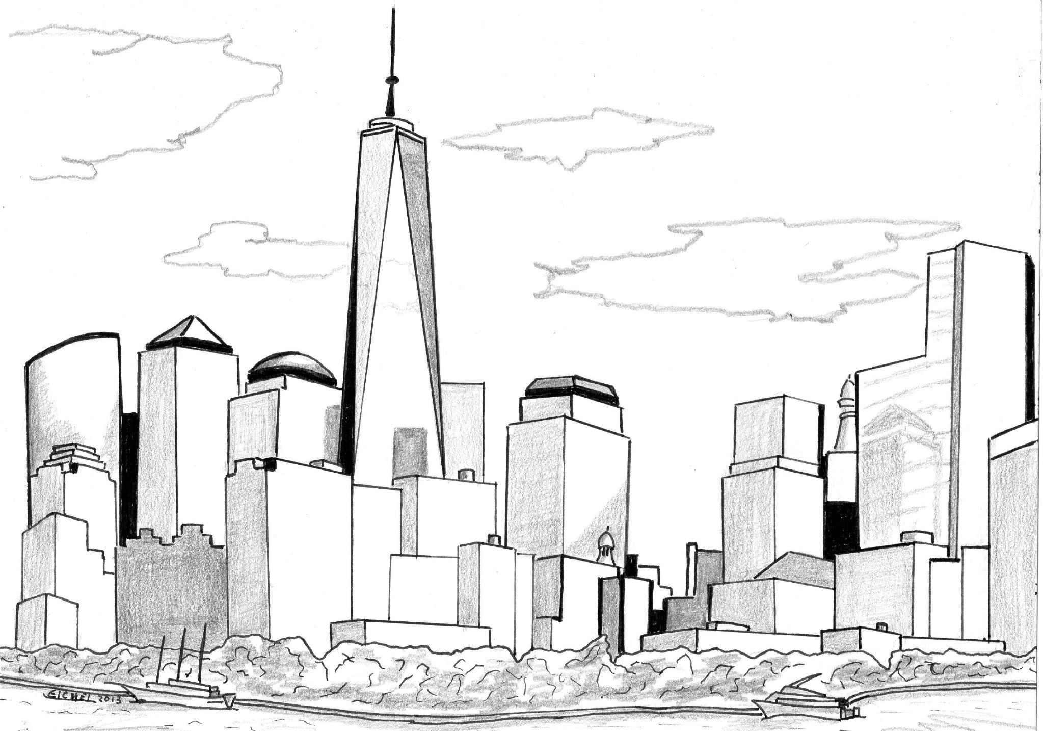 Farbung Malvorlagen Malvorlagenkostenlos Gotham City Skyline New York Drawing City Drawing