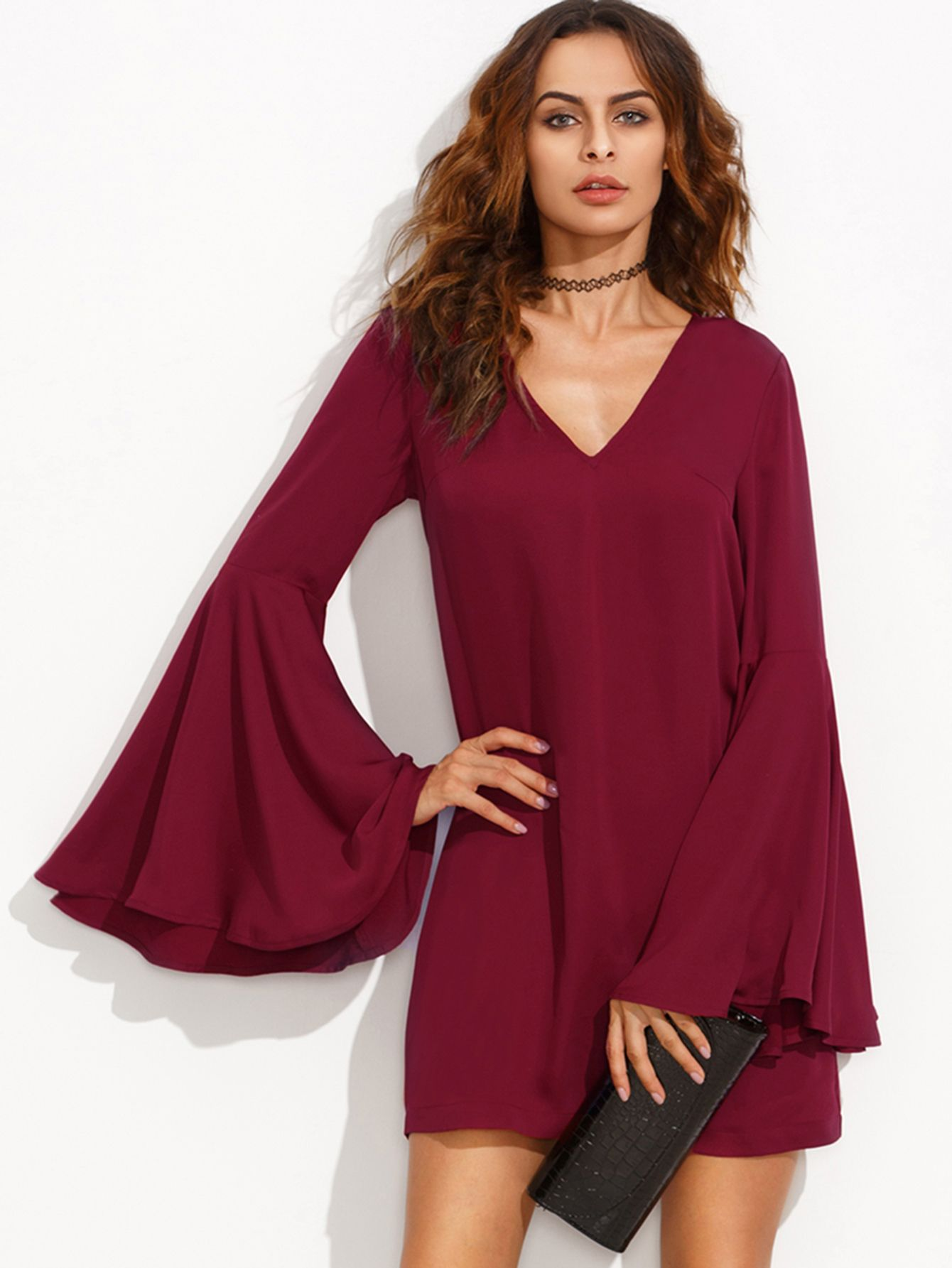 a1e595ea90d5 Online shopping for Burgundy V Neck Ruffle Long Sleeve Shift Dress from a  great selection of women s fashion clothing   more at MakeMeChic.COM.