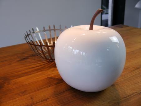 Deko Apfel Aus Fiberglas In Hochglanz Weiss Deko Obst Deko Und