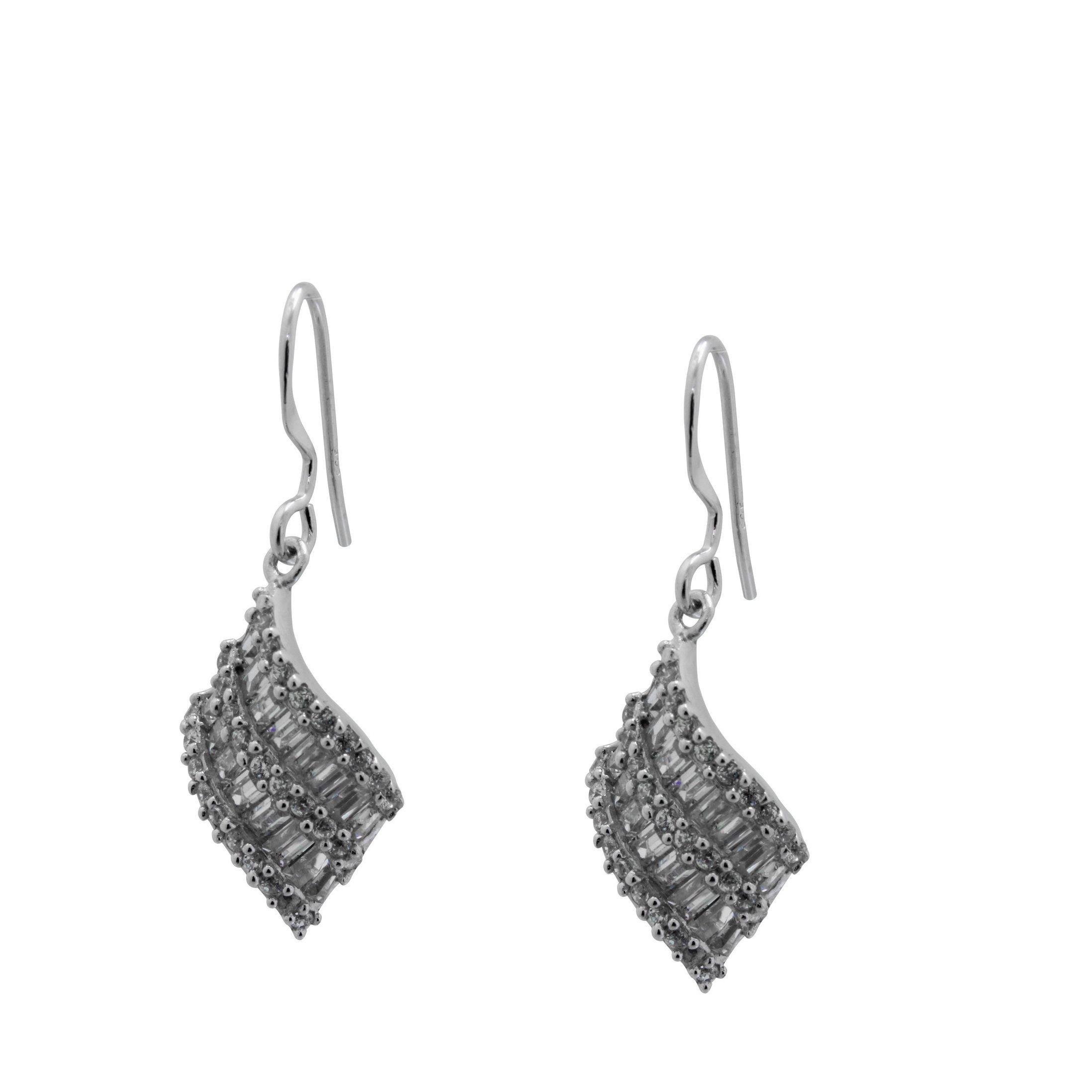 Gioelli Designs Sterling Silver 2 1/2ct TGW Baguette-cut Cubic Zirconia Dangle Earrings
