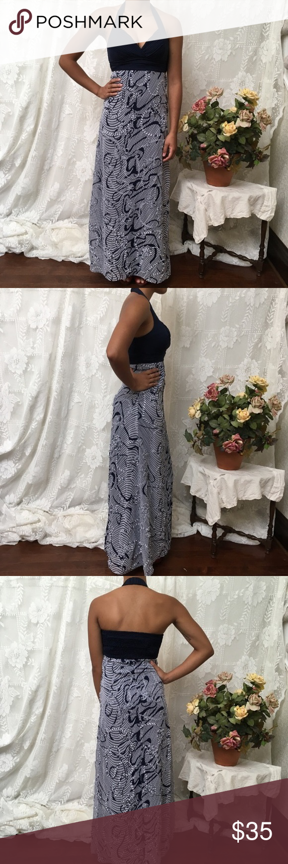 Sew in cups for wedding dress  XOXO Embellished Navy and White Maxi Halter Dress  White maxi
