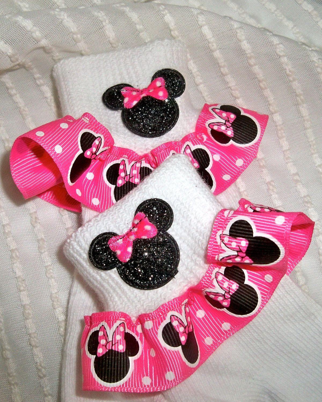 Girls Socks Mickey-Minnie Mouse Inspired Girls Ruffle Socks in Red