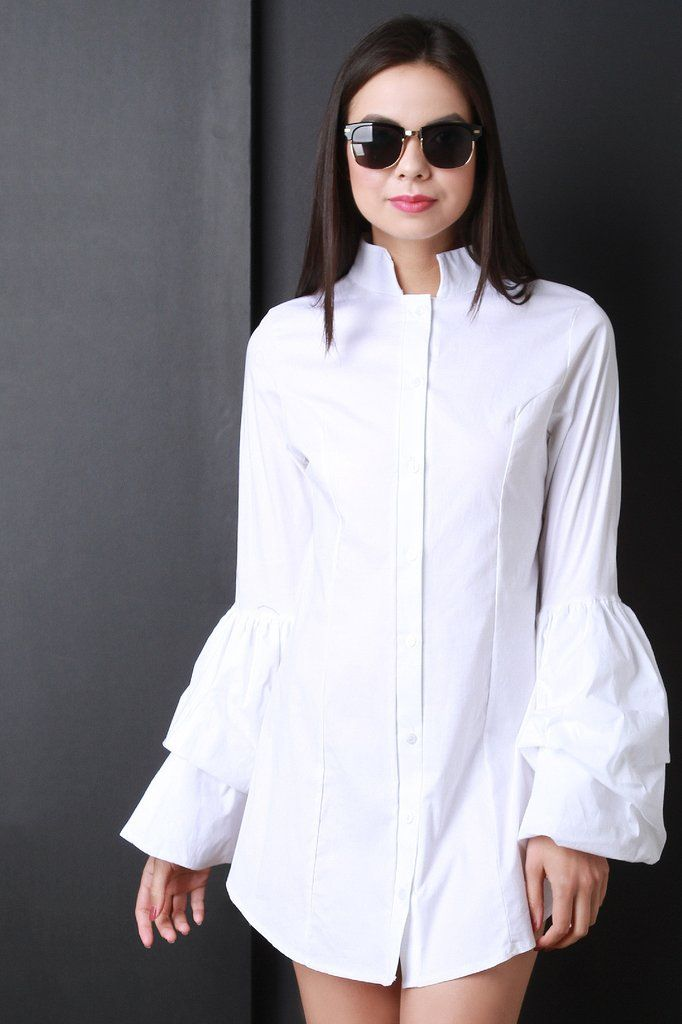 bf6095b275bb75 This chic casual dress features a mandarin collar, button up front closure,  princess seams, loose relaxed fit, long bell sleeves and a rounded mini  length ...