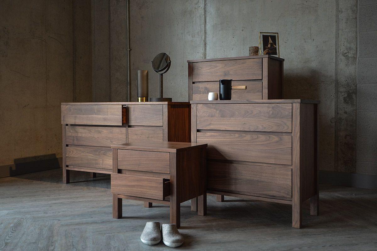 Black Lotus Shaker Wide Walnut  Drawer Chest Natural Bed - Online shaker style bedroom furniture