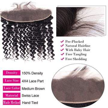 eullair Deep Wave Bundles With Frontal 3 Bundles Human Hair Weave With 13x4 Lace Frontal #virginhair