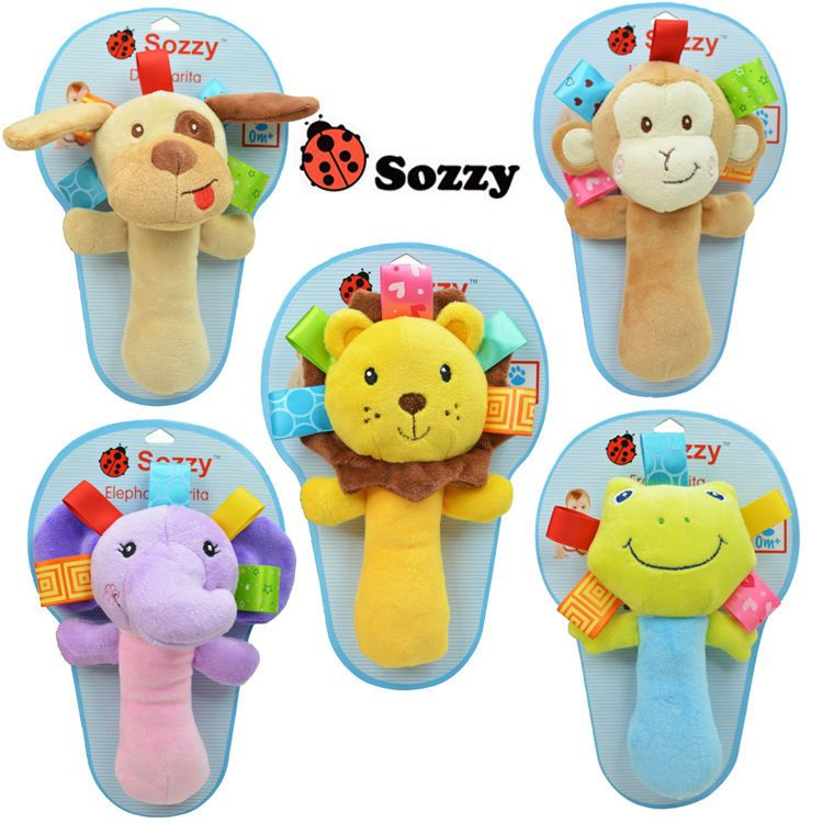 Super Q Animal Baby Shaking Stick Rattle Toy Dog Monkey Lion Frog