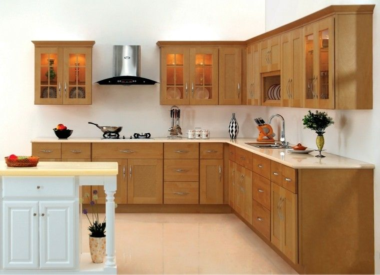 Modelos De Muebles De Cocina | Bonita Cocina Con Muebles Laminados De Madera Decoracion Del