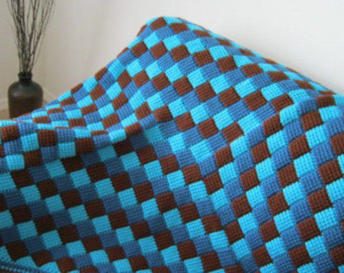 Turquesa azul marrón bebé manta afgana - hecho por encargo - hecho a ...