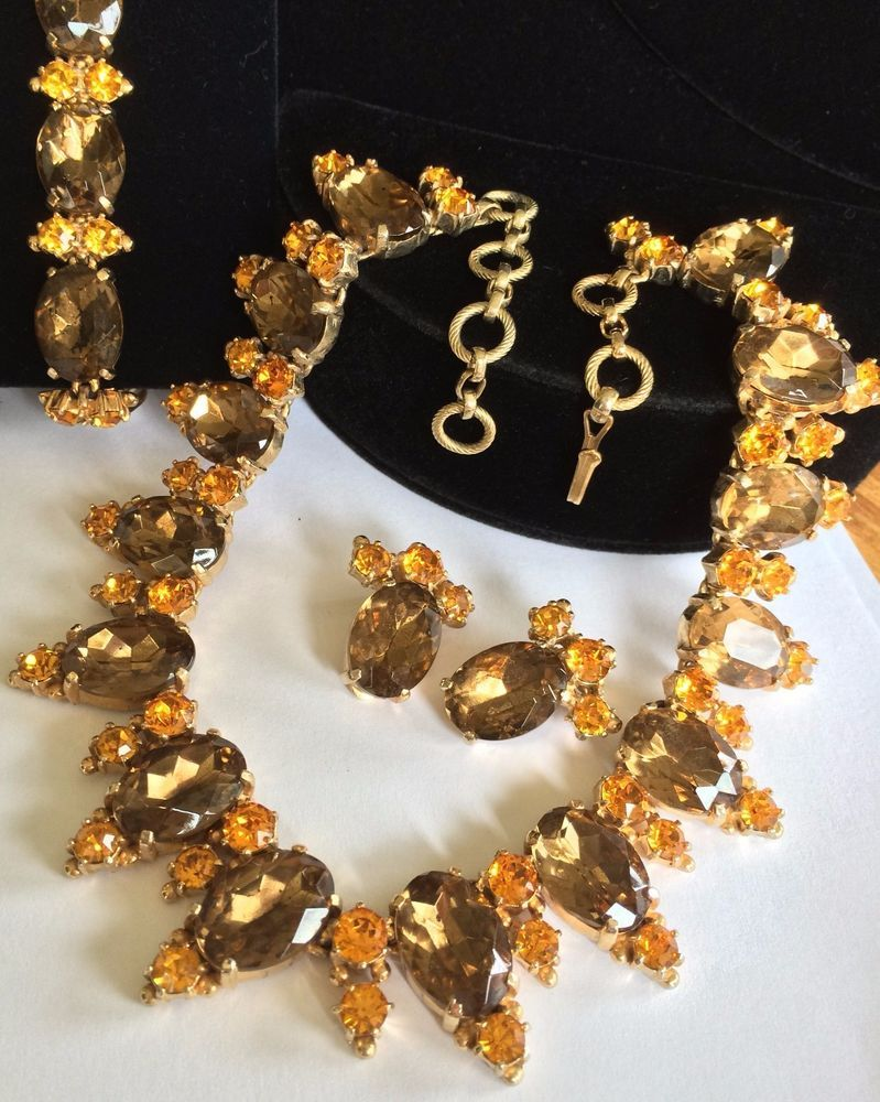 Vintage Schiaparelli Necklace Bracelet Earrings SetTopaz