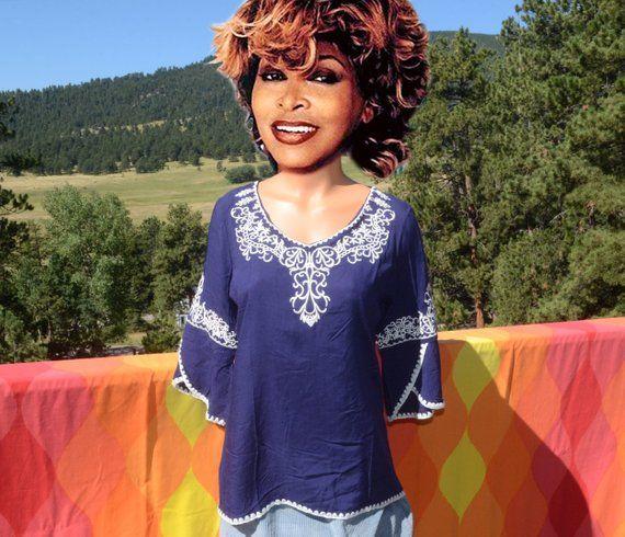 84ad00cb vintage 80s women's shirt TUNIC kurti beach embroidered soft blue royal  princess hawaii Medium