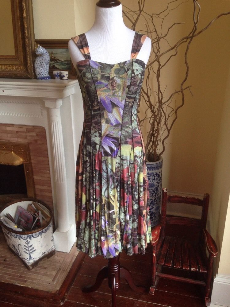 ELANA KATTAN TROPICAL MESH FITTED BODICE WOMENS DRESS SMALL COCKTAIL WEDDING 4 6 #ElanaKattan #Shift #Cocktail #weartowedding #datenightdress #tropical #wearonvacation