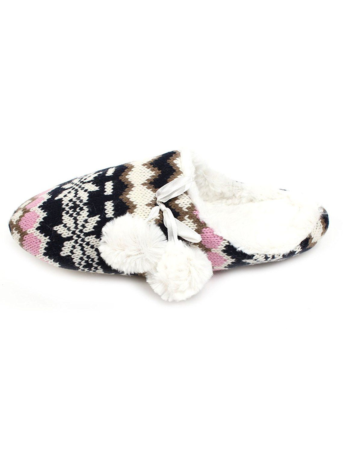 uxcell Women Nordic Pattern Warm Slippers Dark Blue White US 7 *** Click image for more details.