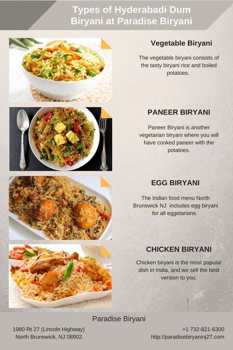 Types Of Hyderabadi Dum Biryani At Paradise Vegetable Paneer Egg En Restaurantsinnorthbrunswicknj
