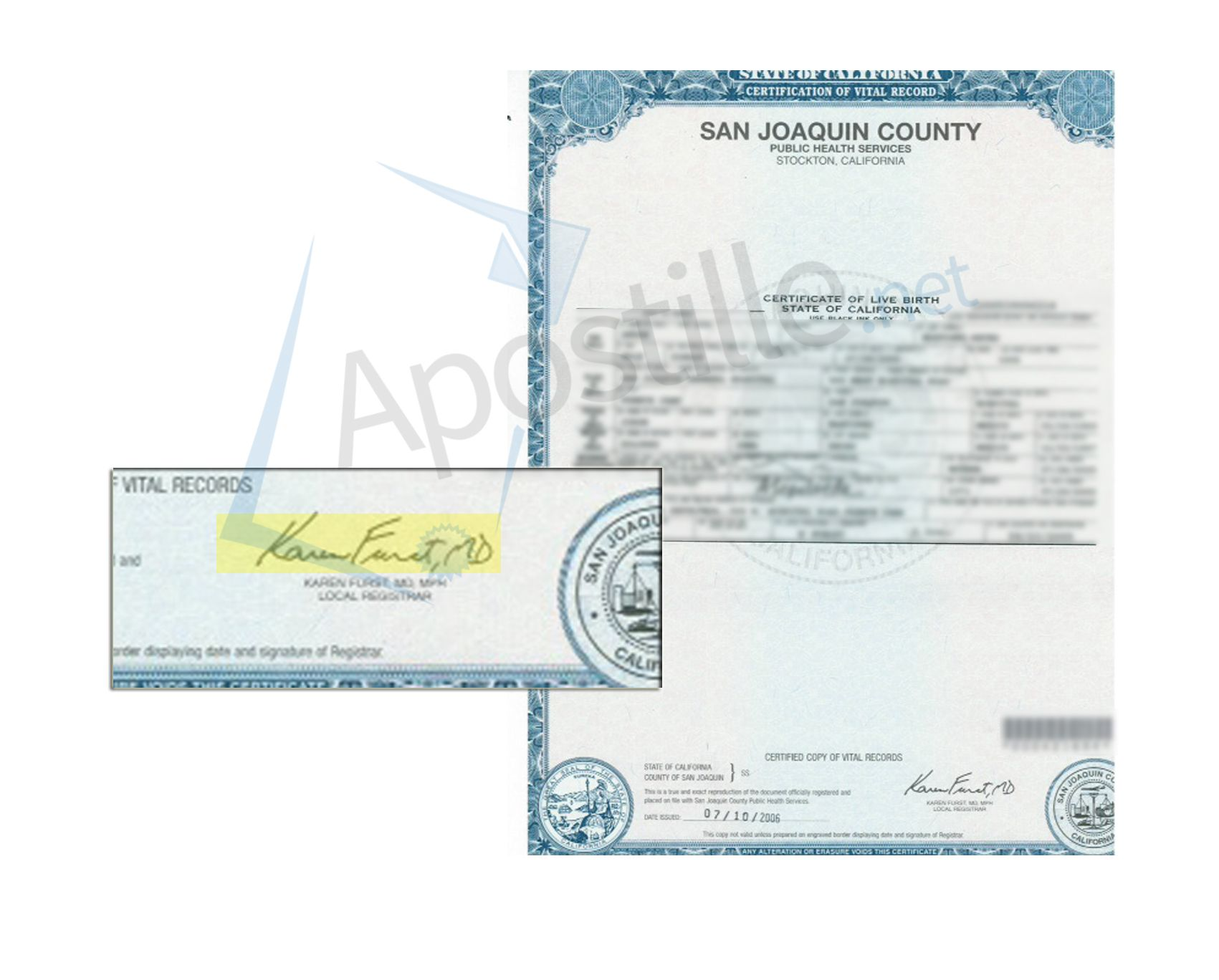 County Of San Joaquin Certificate Of Birth Signed By Karen Furst