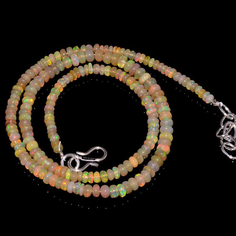 "41CRTS 3.5to4.5MM 18"" ETHIOPIAN OPAL RONDELLE BEAUTIFUL BEADS NECKLACE OBI623 #OPALBEADSINDIA"