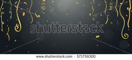 Gold confetti and streamers