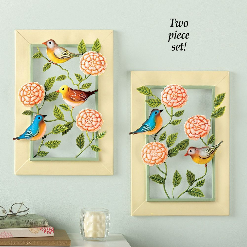Birds & Blooms Metal Wall Art Set   Vases and Accents   Pinterest ...