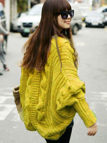 V-Neck Batwing Sleeve Knitted Cardigan