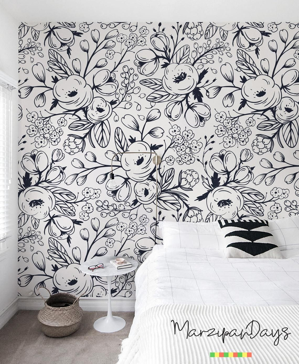 Black And White Wallpaper Nursery Wall Mural Floral Wallpaper Removable Wallpaper Children Wall Art Spinrg Meadow Doddle 6 Black And White Wallpaper White Wallpaper Nursery Wallpaper