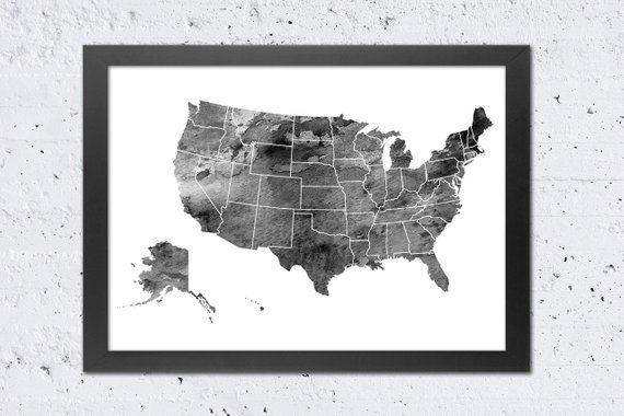 USA Map Print, USA Map States Silhouette Watercolor Black & White ...