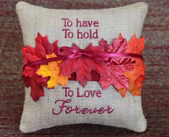 • A perfect wedding decor pillow or gift for the bride and grooms country, rustic fall/autumn themed wedding. • Ring Bearers pillow is