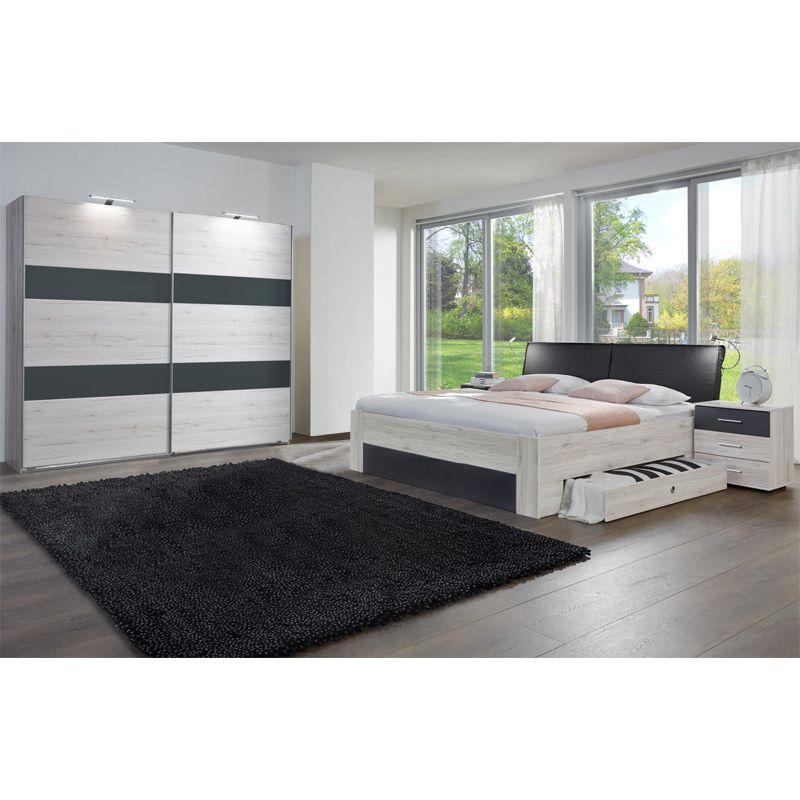 Schlafzimmer Set IMRUM166, Weißeiche, Anthrazit Jetzt bestellen - schlafzimmer komplett