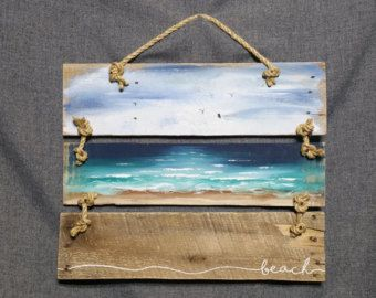 Photo of Pallet art beach Pallet Beach wall Art Nautical decor Hand | Etsy