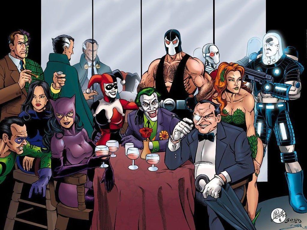 História Em Quadrinhos Batman  Joker Harley Quinn The Penguin Poison Ivy Two Face Papel de Parede