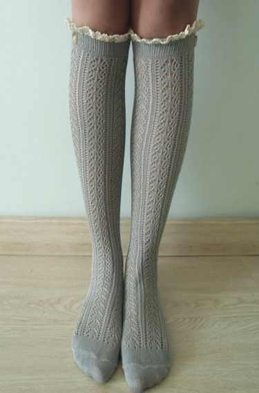 a2fc3091d GREY Cable knit boot socks w  cream lace ivory buttons ...