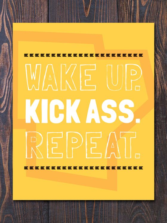 An original and super fun Motivational Art Print that reads Wake Up and Kick Ass in Sunny Yellow by Earmark Social Goods