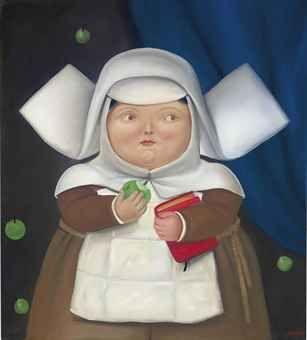 Fernando Botero (Colombian b. 1932)  Nun Eating an Apple  oil on canvas  101.5 x 91.5 cm.1981