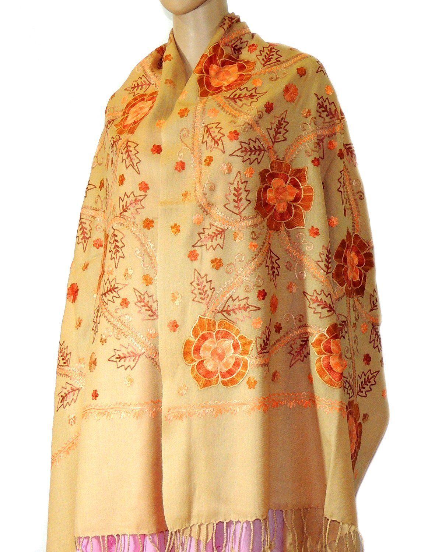 Indian Fashion Guru Beige Gift Designer Woolen Stole Stoles Flower Design Embroidery Stole Sh Indian Fashion Designers Indian Fashion Outfit Accessories