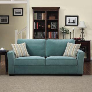 Portfolio Tara Turquoise Blue Velvet Sofa With Summer Stripe Accent Pillows Ping Great Deals On Sofas Loveseats