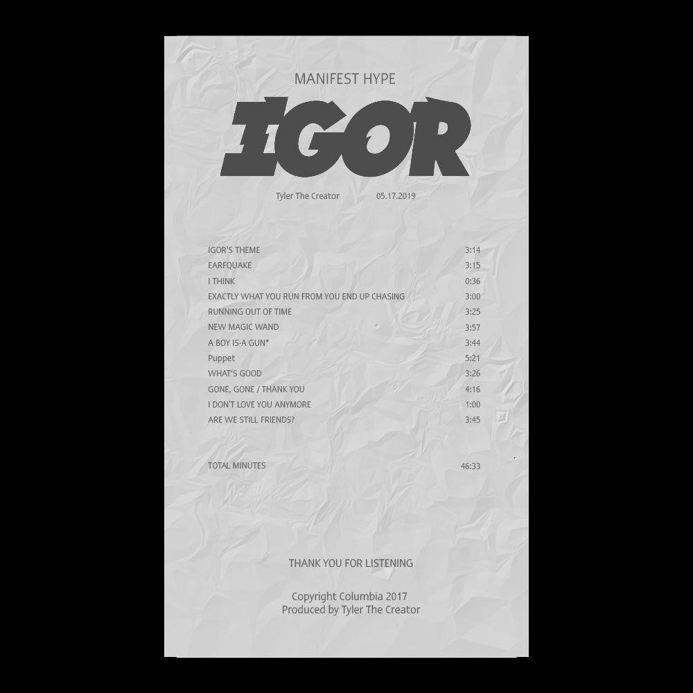 Igor Tyler The Creator Album Receipt Illustrator Template Download Tyler The Creator Illustrator Template Blonde Album