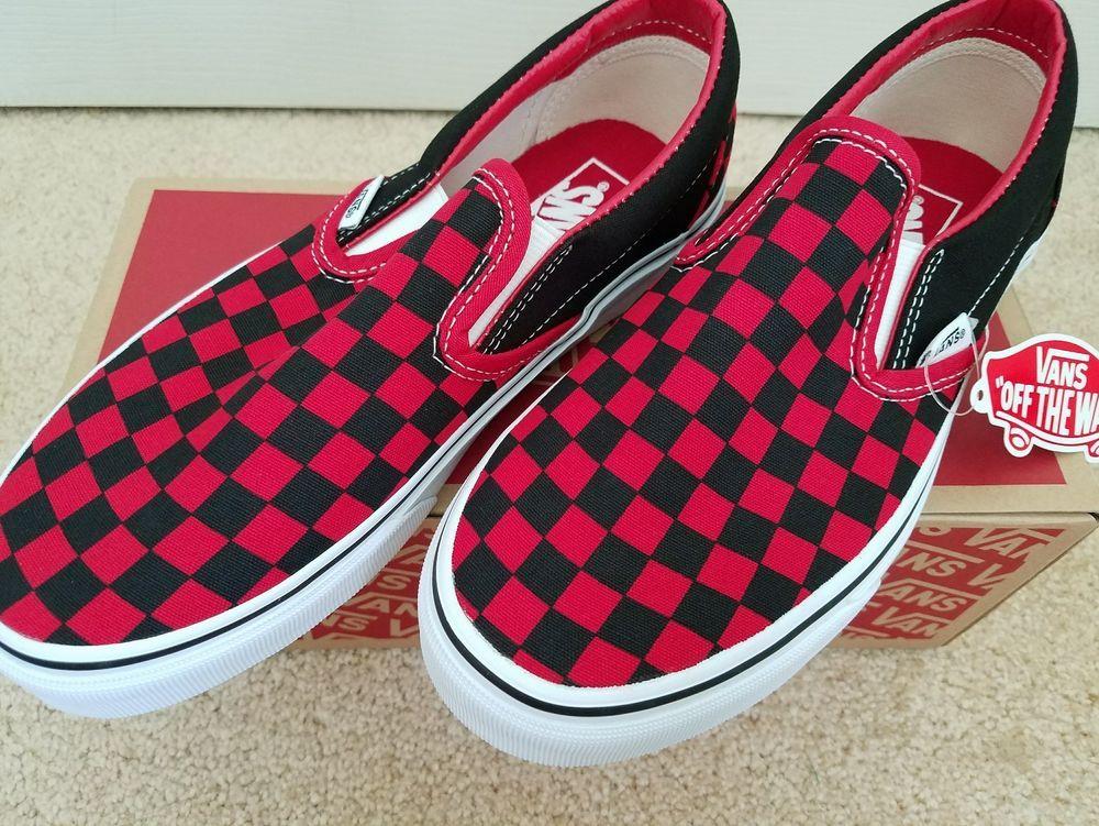 c11528bfde1 Vans BLACK FORMULA ONE RED Checkerboard Slip On Sneaker Womens Sz. 8  Mens  6.5  VANS  Athletic