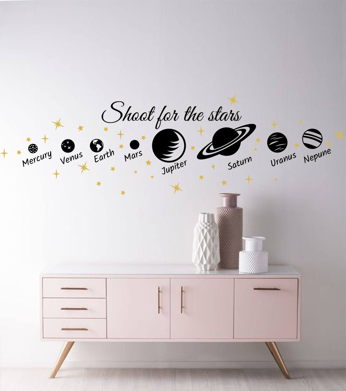 Planets Wall Decal Stars Stickers Baby Room Decals Stars Wall Decals Cosmos Decals Nursery Cosmos Decor P Baby Room Decals Space Themed Room Bedroom Wall Paint