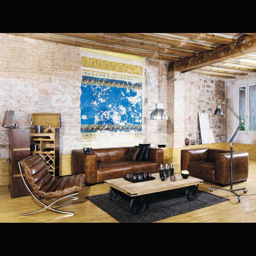 mesa baja con ruedas de mango y metal vintage decoration. Black Bedroom Furniture Sets. Home Design Ideas