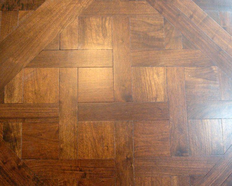 Custom American Black Walnut Parquetry De Versailles Wood Plank Flooring Wood Truss Hardwood