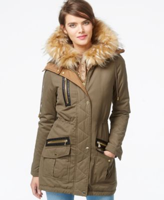 elegant in style new appearance shop for official GUESS Faux-Fur-Trim Mixed-Media Parka | Clothes I want or ...