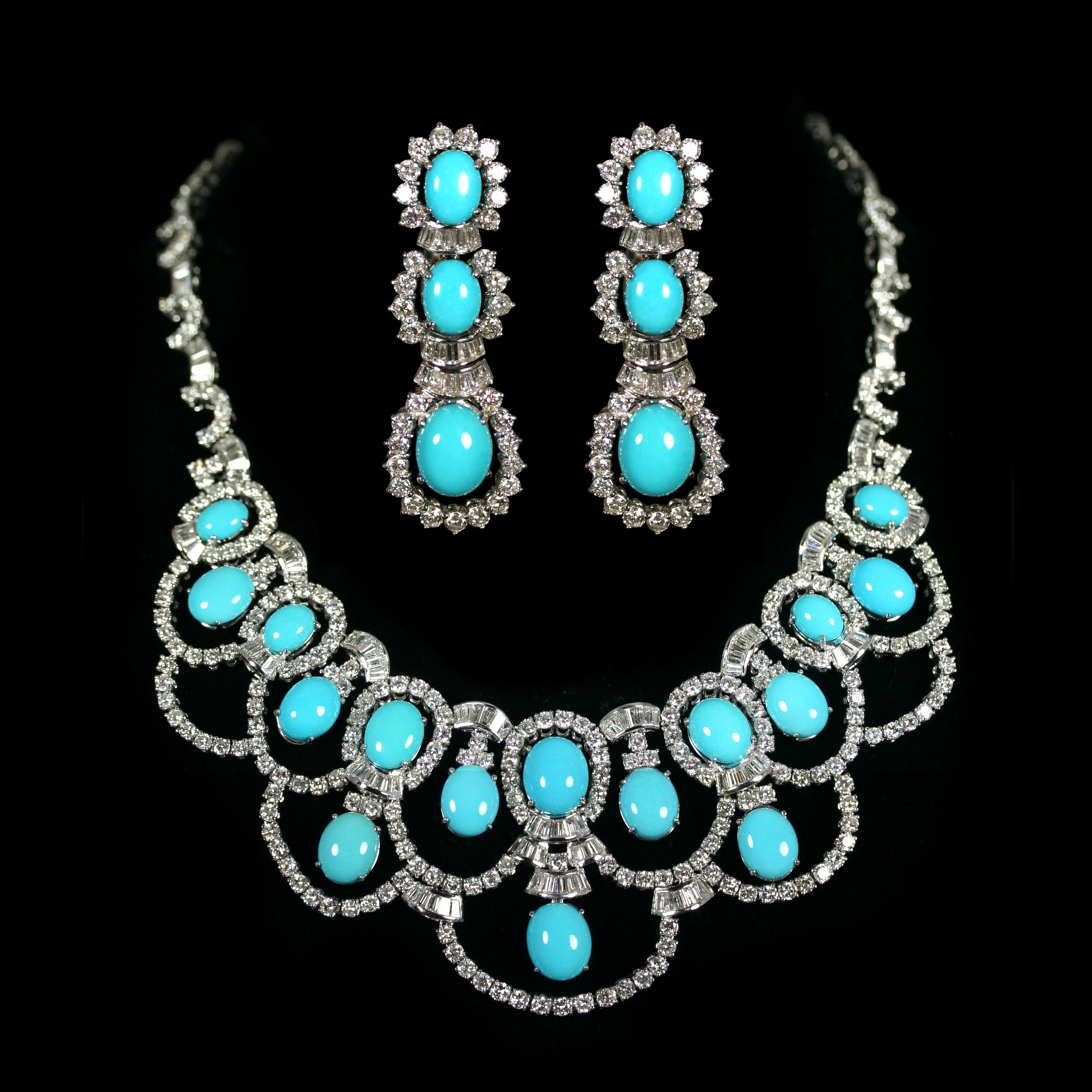 Turquoise Diamond Earrings And Necklace Set Accompanied By A Combined Total Of 26 97 Carats Diamonds In White Gold