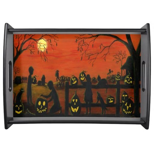 "Halloween serving tray ""Halloween Harvest"" Please visit my Zazzle store for hundreds of products and feel free to search all of Zazzle from this link for great custom products from amazing artists.  http://www.zazzle.com/christinealtmann?rf=238151310469888436"