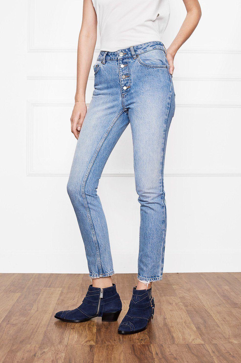 Anine Bing Frida Jean Straight Leg Classic Denim Straight Leg Jeans Denim
