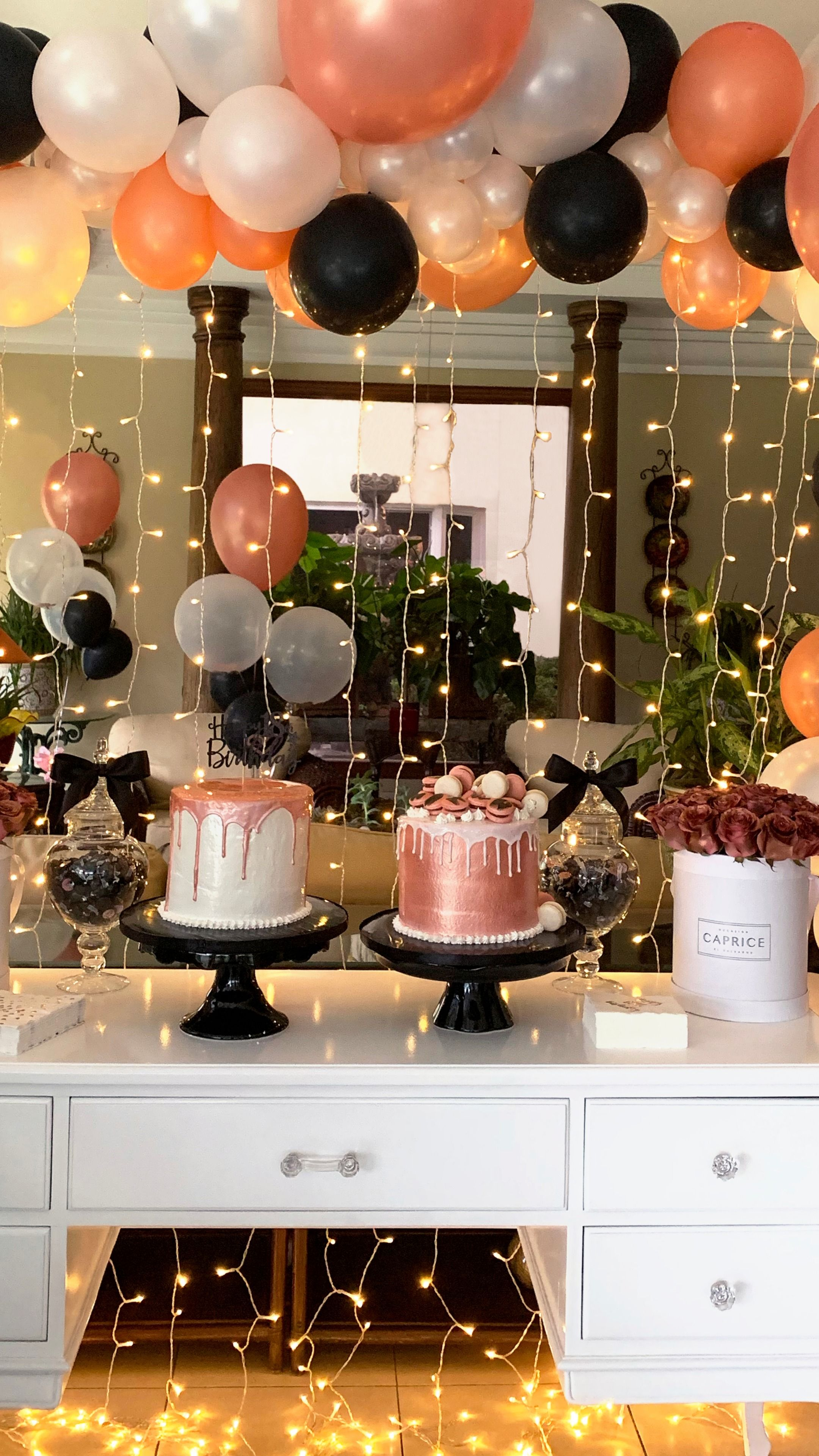 Rose Gold Black Party Rose Gold Party Decor 18th Birthday Decorations Pink Birthday Party