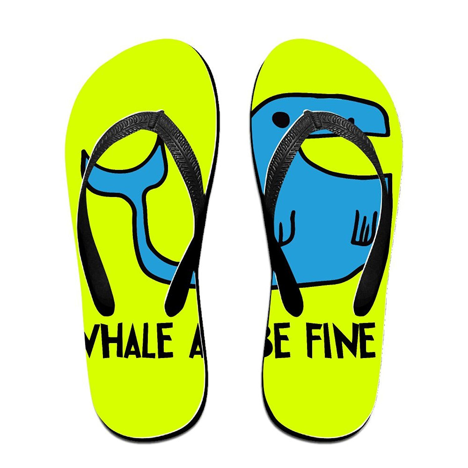 Funny Whale All Be Fine Unisex's Flip Flops *** You can find out more details at the link of the image.